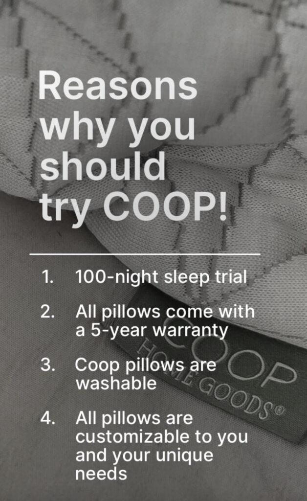 List- How I Get Better Sleep At Night Using COOP Pillows!